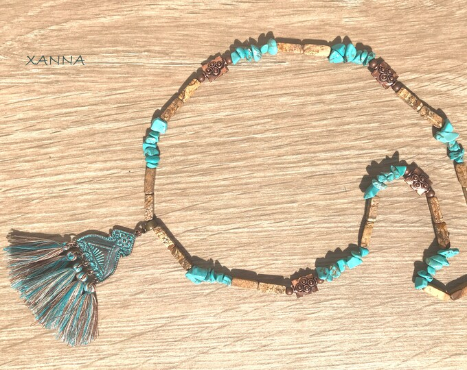 TUQUETA III choker necklace /semiprecious/turquoise stones and jasper wood/copper metal pendant with tassels/Boho chic elegant casual