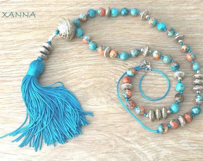 CADAQUÉS/piedras semi-precious necklace/manual knotted/ocean Jade/Blue tassel/elegant casual chic Boho