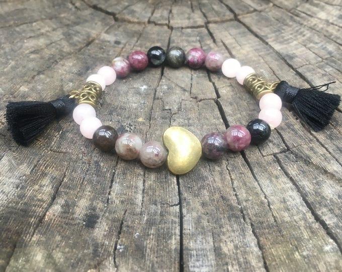 MILI/piedras Bracelet semiprecious/tourmaline and Rose quartz/elegant boho chic casual