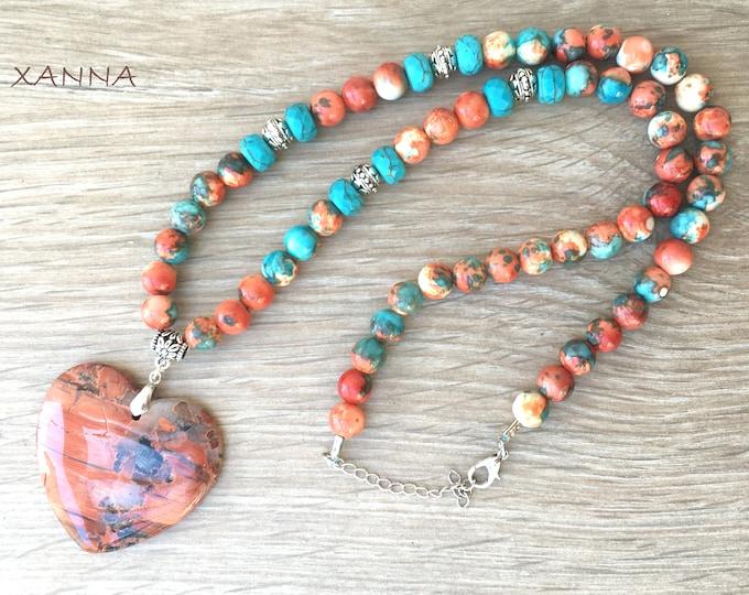 Collar PASSION /piedras semipreciosas/jade océano y magnesita azul/colgante corazón jaspe brechoides/Boho chic informal elegante