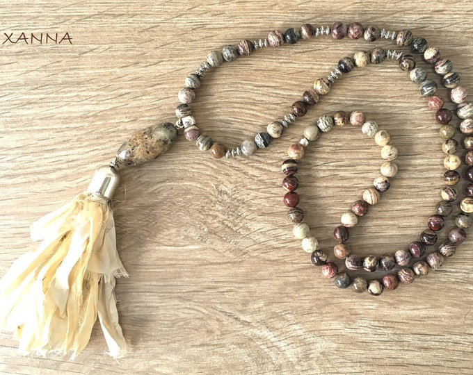 SAND/piedras semi-precious necklace/Silver leaf jasper/Sary silk tassel/boho chic, elegant and casual
