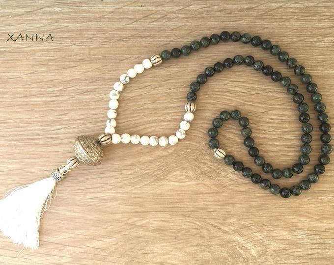 KARA/piedras semi-precious necklace/green rhyolite and white howlite/tassel/boho chic casual Elegant