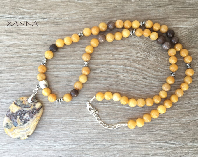 Summer SUN Collar II semi-precious/piedras/yellow aventurine and brown agate/lace agate pendant/Boho chic elegant Casual