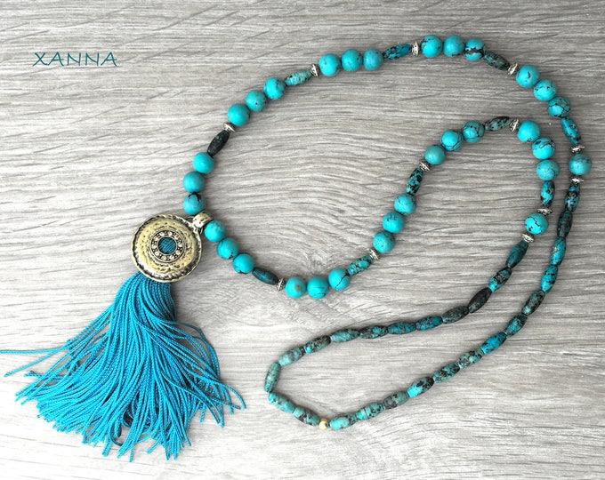 MACARELLA necklace /semi-precious/turquoise stones and African turquoise/blue-turquoise tassel/elegant casual boho chic