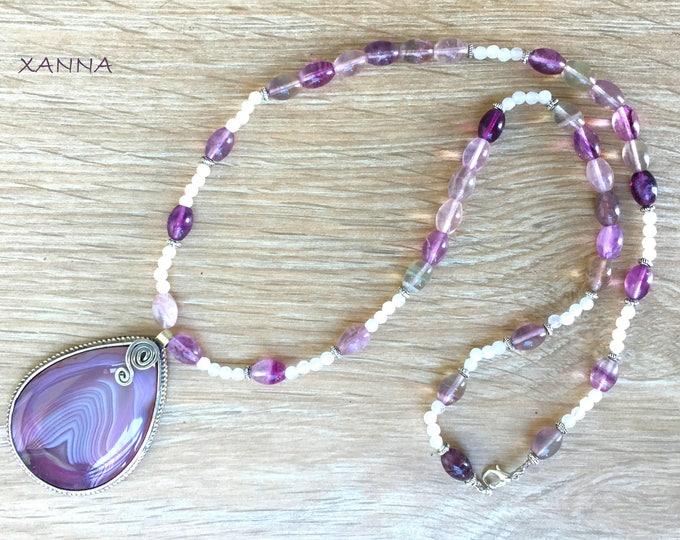 PROVENCE semi-precious/piedras necklace/Agate and fluorite/elegant casual chic agate pendant/Boho
