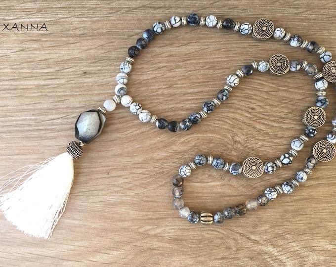 ZEBRA/piedras semi-precious necklace/Dragon agate and white-black/white tassel/elegant casual chic Boho