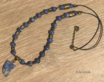 Chic & LOVE Short necklace (XIII) semi-precious/piedras/blue sesame jasper/Boho pendant/chic, elegant, casual