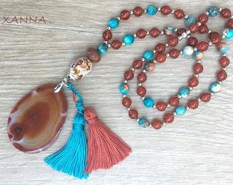 ETNA necklace /semiprecious stones/cornaline and ocean jade/hanging agate and tassels /Boho chic casual elegant