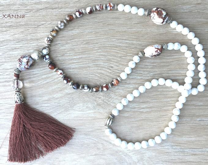 Semi-precious/piedras coffee necklace/Dzi agate and Howlite/tassel/elegant chic boho casual