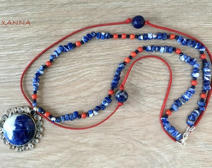 BRITISH semi-precious/piedras necklace/Chorale I coral/Boho elegant chic casual Pendant