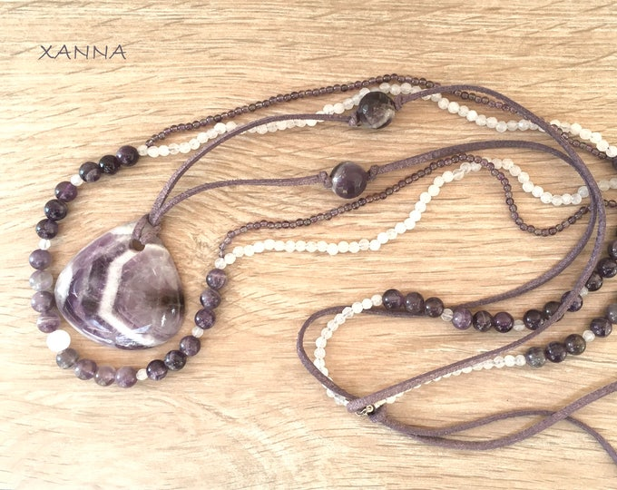 Semi-precious/piedras lunar necklace/Amethyst, fluorite and agate/banded amethyst pendant/elegant casual chic Boho