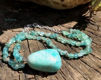 Collar gargantilla ANAÏS /piedras semipreciosas/apatita azul/colgante larimar azul turquesa/boho chic, elegante, informal
