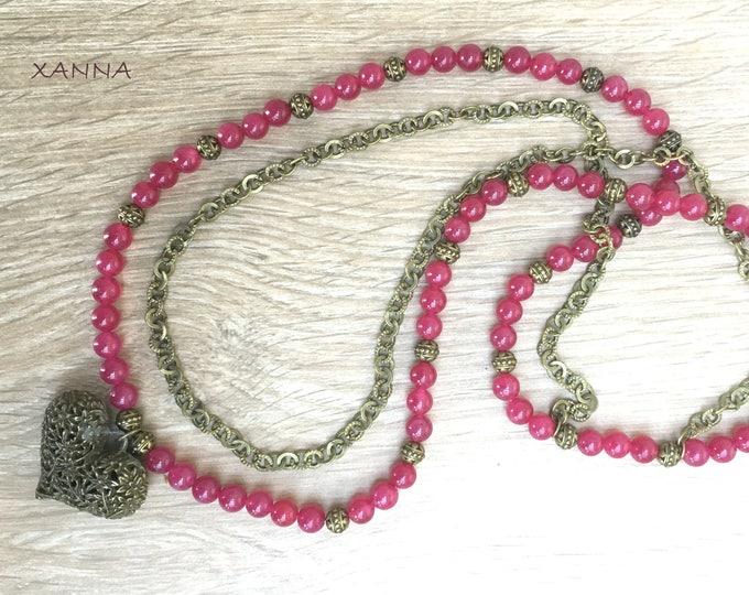 COEUR/piedras semiprecious necklace/Ruby Agate/Bronze chain/boho chic, elegant and casual