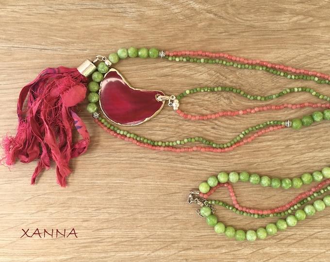 PINK MOON Necklace /SemiPrecious Stones/Agate/Borla Sari/Boho Chic Casual Elegant