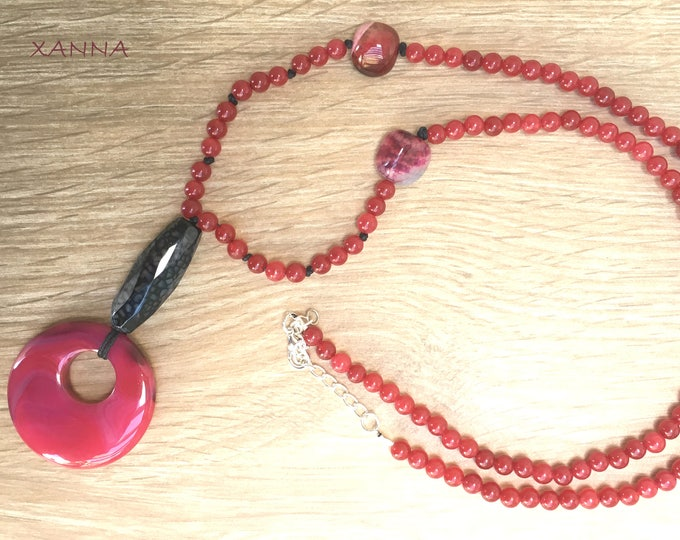 Semi-precious/piedras MARS necklace/Red agate/Red agate Hoop pendant/boho chic, elegant and casual