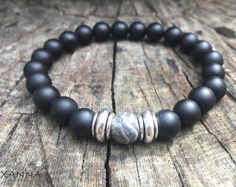 XANNA STONE Bracelet (05)/piedras semi-precious/Matt Onyx and Jasper Map/casual Elegant