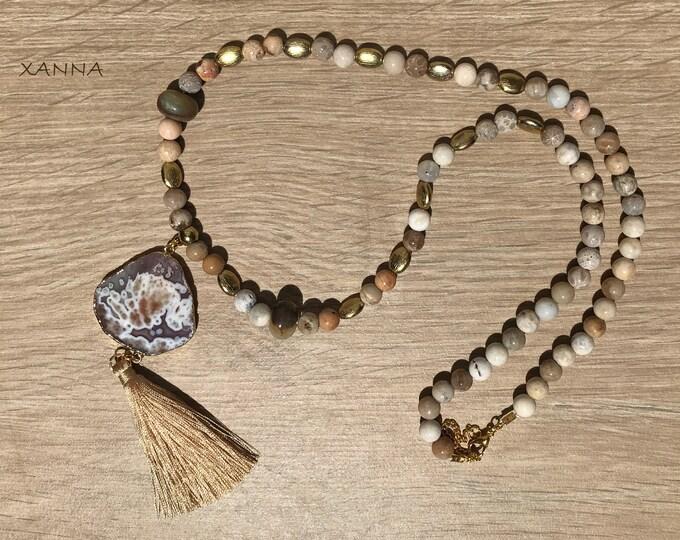 Collar DIONE /piedras semipreciosas/coral fósil agatizado y jaspe/colgante ágata encaje facetada con borla/Boho chic informal elegante