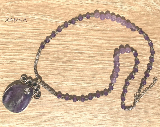 VICTORIAN Necklace /Semiprecious Stones/Amethyst/Amethyst/Boho Chic Elegant
