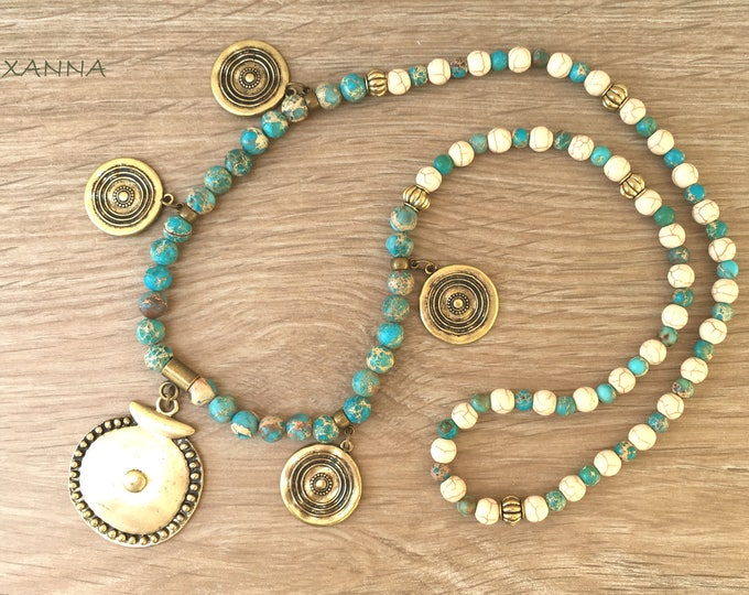 Semi-precious/piedras GIZEH necklace/Turquoise Imperial jasper and white Howlite/broze ethnic Pendants/Elegant chic Boho