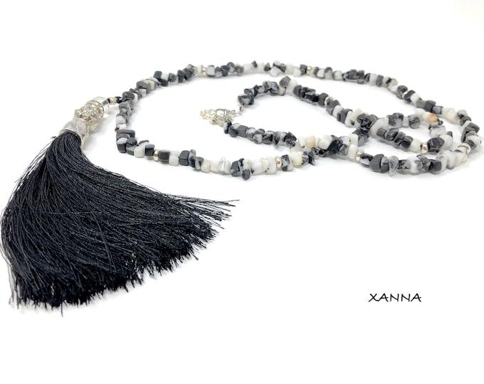 NIT Necklace I DIA (II) semi-precious/piedras/zebra jasper/black decorated tassel pendant/elegant Boho chic casual