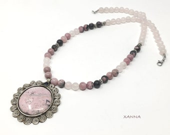 SAKURA IV necklace /semi-precious stones/rhodonite and pink quartz/rhodote pendant/Elegant casual boho chic
