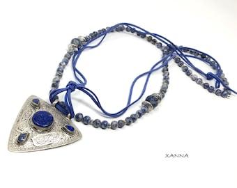 DUNA Necklace /Semiprecious Stones/Sodalita/Berber Silver Pendant with Lapis Lazuli/Boho Chic Elegant Casual