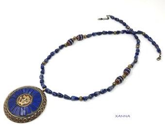 Chic & LOVE Short necklace (XXVII) semi-precious/piedras/Boho/ethnic pendant bone inlay/elegant chic casual