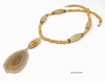 NIL/piedras semi-precious necklace/aventurine and yellow agate/Yellow agate pendant/boho chic, elegant and casual