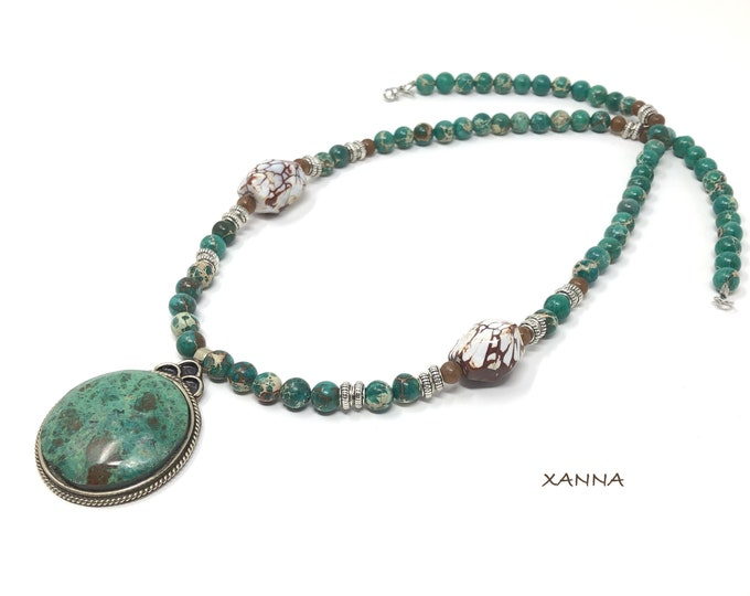 Collar PRADERA /piedras semipreciosas/jaspe imperial y ágata/colgante crisocola/Boho chic informal elegante