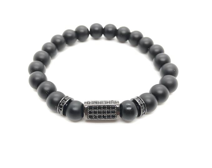 BOTH 16/piedras semi-precious bracelet/Matt Onyx/elegant boho chic casual