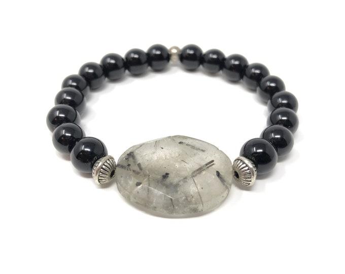 FEMME 10/piedras semiprecious bracelet/onyx and tourmaline quartz/elegant boho chic casual