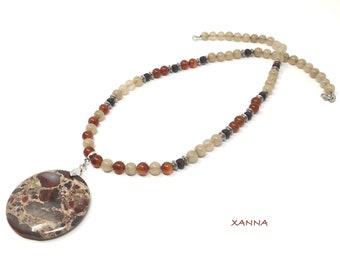 LHASA/piedras semi-precious necklace/carnelian and beige agate/brecciated jasper pendant/Elegant chic casual Boho