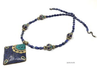 Chic & LOVE Short necklace (XXVI) semi-precious/piedras/Boho/ethnic pendant bone inlay/elegant chic casual
