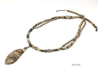 TERRA necklace /semiprecious stones/aqua-terra jasper and wood jasper/pendant jasper landscape/boho chic, elegant and informal