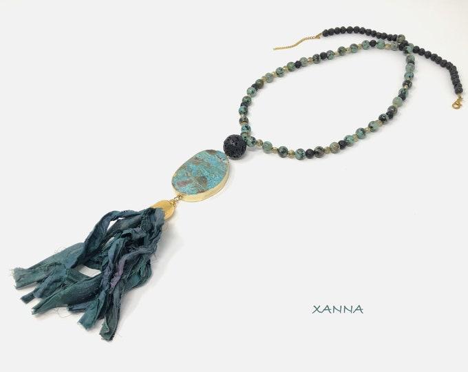 Monaco/piedras Semi-precious necklace/African turquoise and volcanic lava/ocean jasper pendant & sari tassel/Elegant chic casual Boho