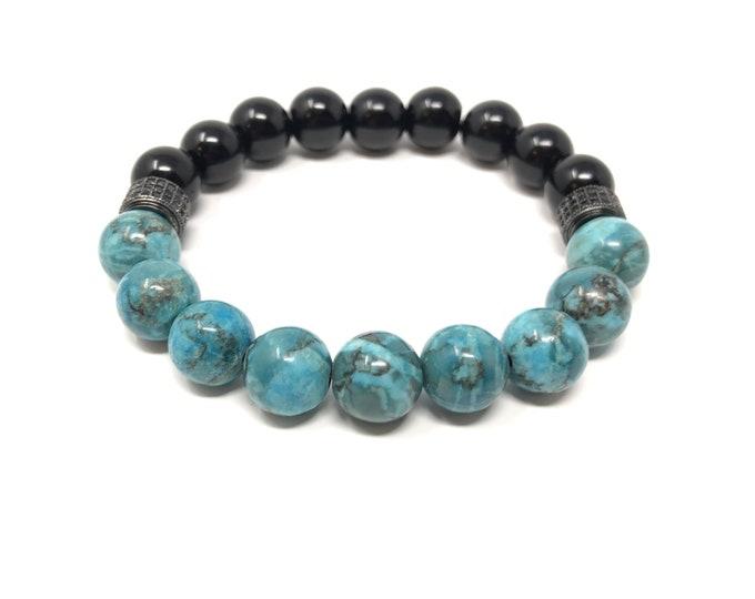 BOTH 5/piedras semi-precious bracelet/matt Onyx and African turquoise/elegant boho chic casual
