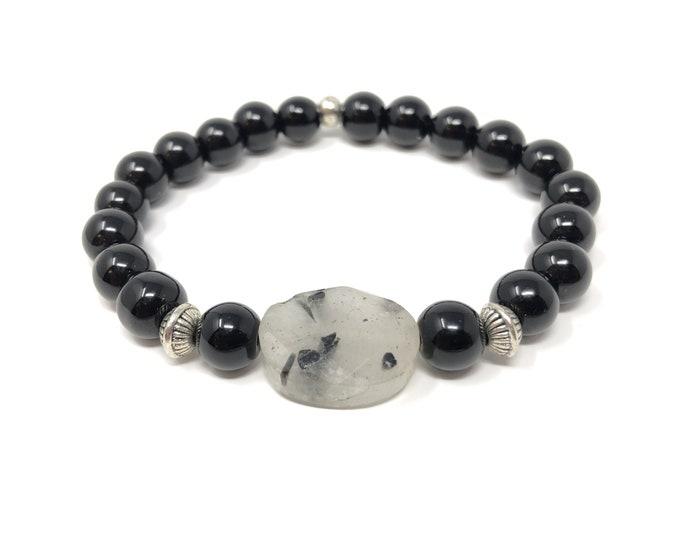FEMME 9/piedras Bracelet semi-precious/onyx and tourmaline quartz/elegant boho chic casual