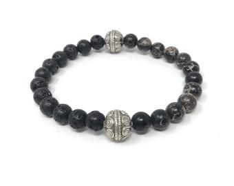 BOTH 14/piedras semi-precious bracelet/volcanic lava and imperial jasper/elegant boho chic casual