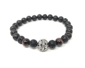 BOTH 13/piedras semiprecious bracelet/porthole and volcanic lava/elegant boho chic casual