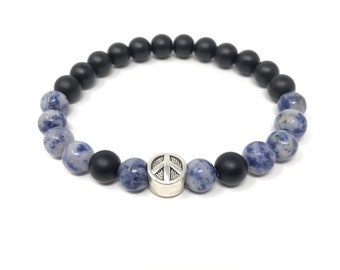 BOTH 18/piedras Semi-precious bracelet/Matt Onyx and Boho/elegant chic casual