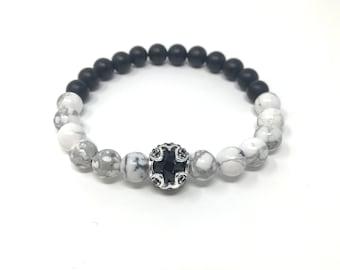BOTH 8/piedras semi-precious bracelet/Matt Onyx and Howlite/boho chic elegant Casual