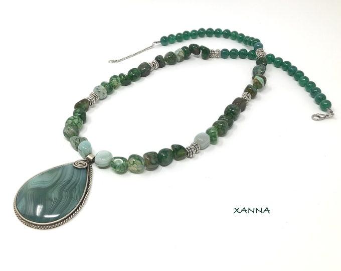 SCOTTISH/piedras semiprecious Necklace/Turquoise Agate-blue-green/tassel/boho chic, elegant, casual