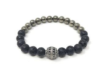 BOTH 7/piedras semi-precious bracelet/lava Volcànica and pyrite/elegant boho chic casual