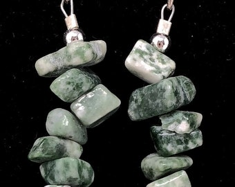 PENDING STONE VI / semiprecious stones / mossy agate and sterling silver 9.25/Boho chic casual and elegant