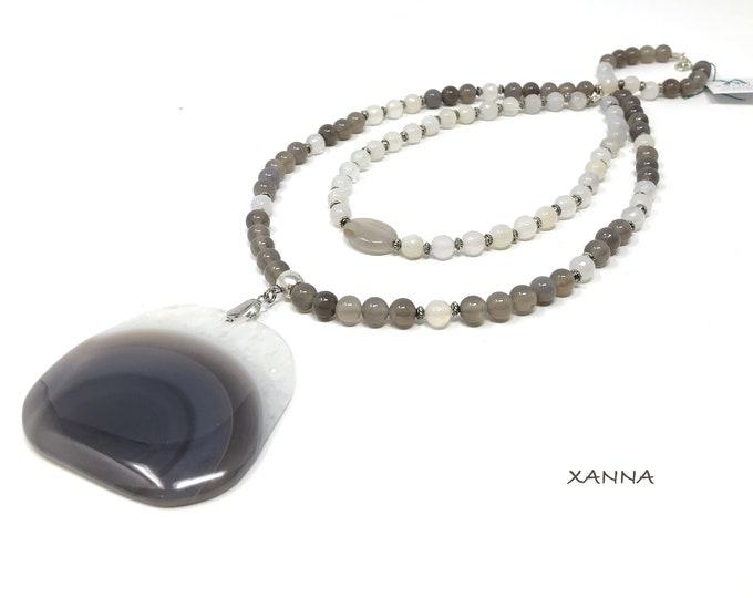 GRACE/piedras semiprecious Double necklace/agate/druzy Agate Pendant/Boho chic casual Elegant