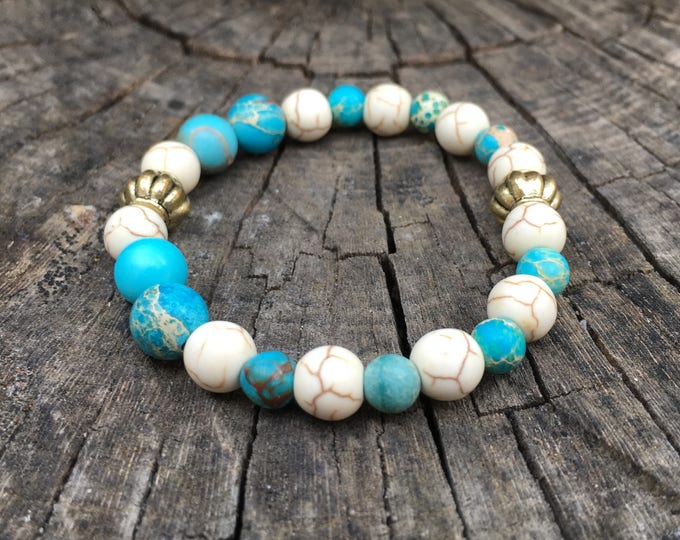 Semi-precious/piedras GIZEH bracelet/Imperial Jasper Turquoise and Howlite white/boho chic casual Elegant