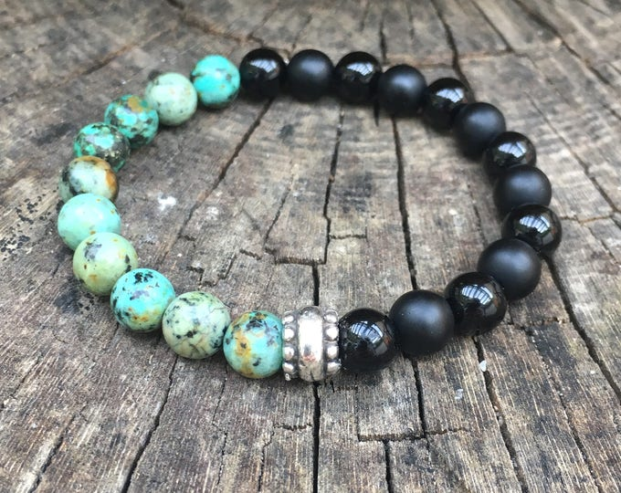 XANNA STONE Bracelet (11) Semi-precious/piedras/Matte onyx-Glitter and African turquoise/casual chic
