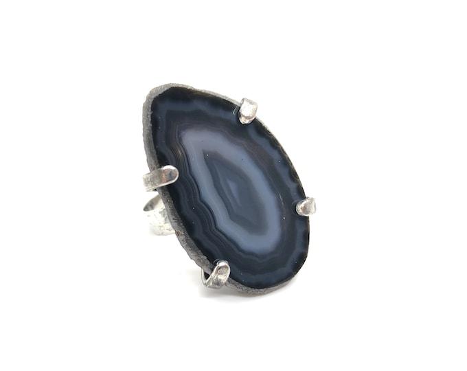 XANNA RING 19 /semi-precious stones/grey agate