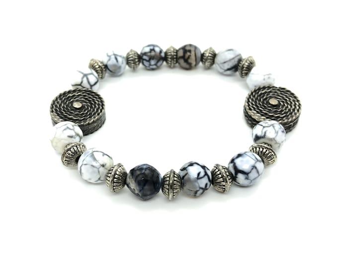 Semi-precious ZEBRA/piedras bracelet/black white Dragon agate/boho Chic elegant Casual
