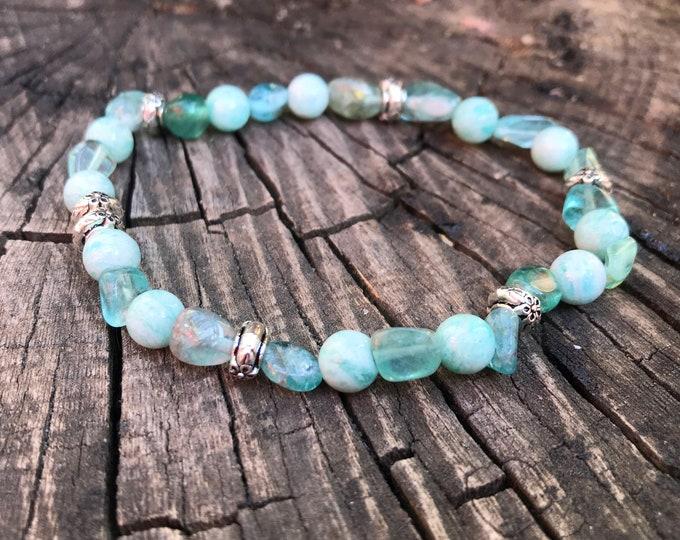 XÈNIA/piedras semiprecious bracelet/Blue apatite and Amazonite/boho chic, elegant, casual